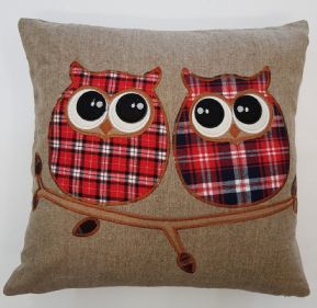 APPLIQUE TARTAN OWL LUXURY WOOL MIX PIPED CUSHION COVER RED/BLUE/GREY £6.49 EACH